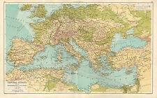 1891 VICTORIANO MAPA CENTRAL EUROPA & MEDITERRÁNEAS PAÍSES ESPAÑA ITALIA GRECIA