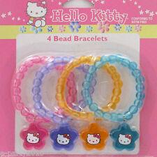 HELLO KITTY PASTEL BEAD BRACELETS (4) ~ Birthday Party Supplies Favors Jewelry