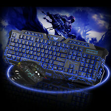 New LED Gaming Wired 2.4G keyboard and Mouse Set to Computer Multimedia Gamer US