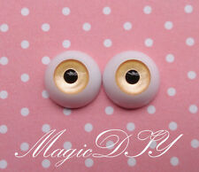 12mm Hand Made BJD Doll Eyes Pearlized Orange Acrylic Half Ball