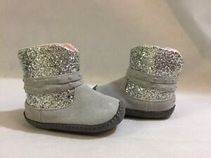 Stride Rite Surprise  Size 2  Baby Toddlers Boot,Gray /Silver Glitter Leather