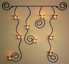 Soporte de pared para velas té Lysa Negro Candelabro metal 74cm Portavelas