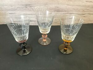 Set of 3 vintage wine glasses with coloured steam
