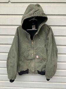 VTG Carhartt Green Sandstone Canvas Full Zip Hooded Work Coat Jacket X-Large
