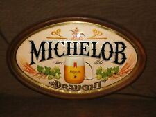 "VINTAGE 1970S BAR 23"" X 14 1/2"" MICHELOB DRAUGHT BEER PLASTIC WALL SIGN"