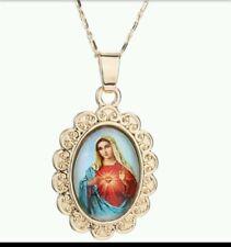 Virgin mary Necklace gold plated madonna de la vigen maria catholic our lady 837