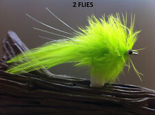 Seaducer/Deep Silhouette Chartreuse Fly 2 Flies #1/0,redfish,snook,stripe r