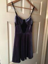 Womens Topshop Grey and Black Velvet Strappy Mini Dress. Size 8