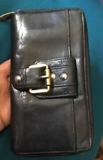 MANZONI Zip Around Genuine Leather Wallet. Black.