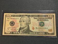 $10 Dollars Bill Series 2013 (Kansas City), Bookend Banknote Serial # 10240102