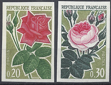NATURE ROSES N°1356/1357 TIMBRE NON DENTELÉ IMPERF 1962 - NEUF ** LUXE MNH