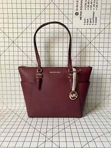 NWT Michael Kors Charlotte Signature Leather Top Zip Tote Handbag Shoulder Bag