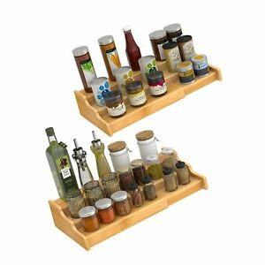 3 Tier Expandable Bamboo Spice Rack Seasoning Organizer for Cabinet Pantry Co...