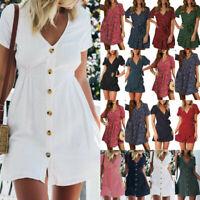 Boho Women Short Sleeve Mini Dress Summer Holiday Beach Smock Sundress Plus Size
