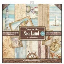 Stamperia Sea Land 12 x 12 Paper Pack Lighthouse Balloons Yacht Beach Sea