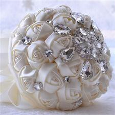 Artificial Rose Flower Wedding Bouquet Brooch Crystal Pearls Silk Bridal Flowers