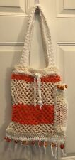 Handmade Knitted Hippie Retro Purse/ shoulder Strap  Tri-color Beaded  Funky Fun