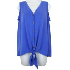 Green Envelope Top Womens Size M Blue Modal Sleeveless Button-up Tie Front USA