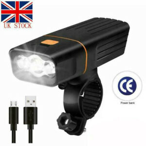 FULLY RECHARGEABLE BICYCLE / SUPER BRIGHT BIKE LIGHTS SET LIGHT WATERPROOF UK