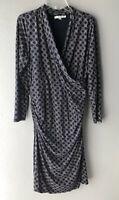 Boden Women's Ruched Faux Wrap Dress Wool Blend Navy Print Size US 16 Long