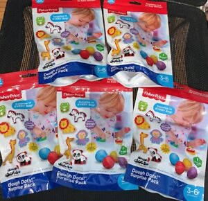 LOT OF 5 - Fisher Price Dough Dots! Surprise Pack Modeling Dough, Cutter , Dough