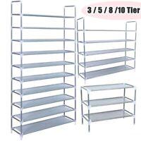 50 Pairs 10 Tier Metal Shoe Rack Space Saving Storage Organizer Shelf Shoe Tower