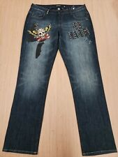#381 Ed Hardy Size 16 Jean's Pants Distressed Christian Audigier EUC