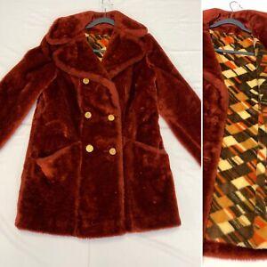 Vtg 70s Sears Fashions Faux Fur Button Down Brown Coat Jacket Rust Orange Color