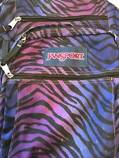 VTG Jansport Purple Zebra Animal Print Student Backpack  Padded Straps 19 x 13
