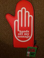 """Crazy Cooks Novelty Oven Or Barbeque """"Hands Off My Sausage"""" Mitt Glove bbq Xmas"""