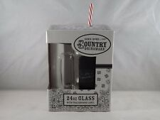 Down Home Country Drinkware 24 oz. Glass w/ Handle and Chalkboard Label - New