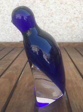 Exbor Glass Penguin Cobalt Blue & White Vintage Glass Art *** CHECK MY VIDEO ***