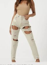 Missguided sand extreme ripped riot mom rigid jeans Size 12S  #133