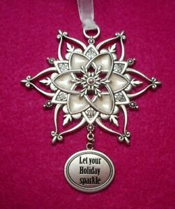 "NEW Pewter Embellished Snowflake Ornament, ""Let your Holiday sparkle"" by Ganz"