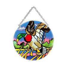 Joan Baker Designs LANDING MALLARD DUCK Painted Glass Circle Suncatcher NIB