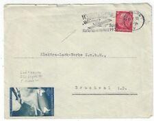 1937 Duisburg Germany Airmail Lufthansa FFC Europa Zeppelin Label