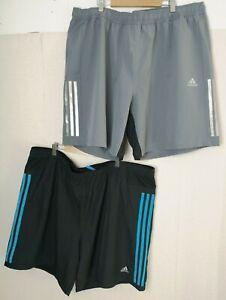 2x ADIDAS Men's Active Shorts Running Gym Black Grey 2XL XXL Elasticated - K174