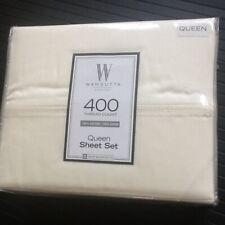 New Ivory 4-piece Wamsutta 400 Thread Count 100% Cotton Sateen Queen Sheet Set
