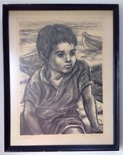 "Great 1940's Original Pencil Signed Lithograph by Marion Greenwood ""Wanderlust"""