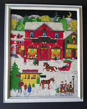 "Vintage Needlepoint 15.5"" x 12.5"" Winter Snowy Town Square at Night Wood Frame H"