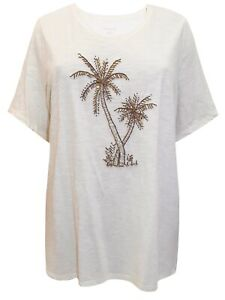 Bead Embellished Palm Tree Top Plus Size 18-40 Tropical Cotton T-shirt 480