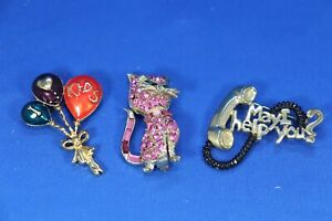 JS5 Lot of 3 Ren Signed Brooches Pins Kids Balloons Rhinestone Cat Telephone