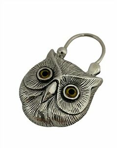STERLING SILVER AND AGATE OWL PADLOCK