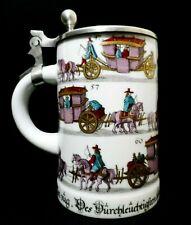 Johann Beorgens (Germany) Transfer Porcelain Beer Stein, W/Hinged Pewter Lid