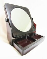 Vtg Vanity Mirror 2 sided normal & magnifying Lucite plastic w make–up tray