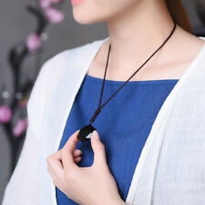 Women Natural Stone Necklace Black Obsidian Pendant Jewelry Acc Gift Hot Sale