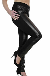 Womens Plus Size Faux Leather Look & Spandex Trousers Black Ladies NEW 12-24