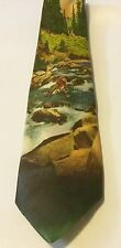 "VINTAGE COLOR PHOTO NECKTIE TIE ""Fisherman's Delight"" Fly Fishing"