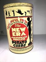VTG New Era Potato Chip Tin Can Advertising Kitchen Collectible Country Orig