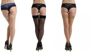 Pamela Mann Back Contrast Seam Cuban Heel Hold Ups Nude Black Retro 40s 50s